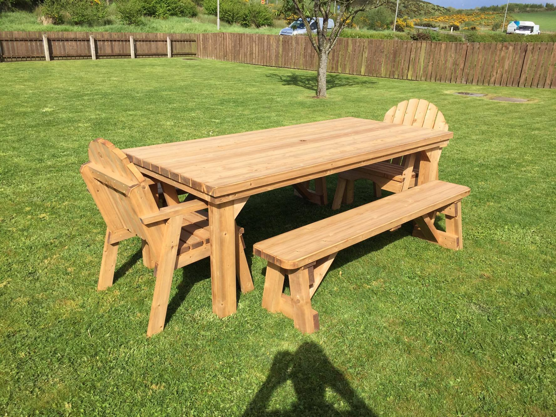 Garden Table, Chairs and bench for customer in Dungannon